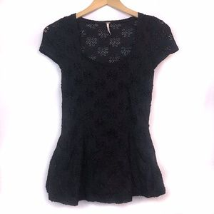 FREE PEOPLE Black Floral Lace Eyelet Peplum Blouse